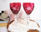 Crystal Cordial Glasses Aperitif Liqueur Sherry Stems Bohemian Cranberry Cut to Clear Stemware 4oz Set of 4 Beyer Bleikristall Germany