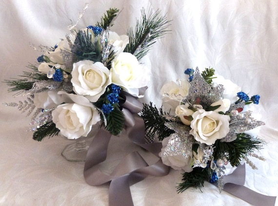 Silver White And Blue Winter Wedding Bouquet And Boutonniere Etsy