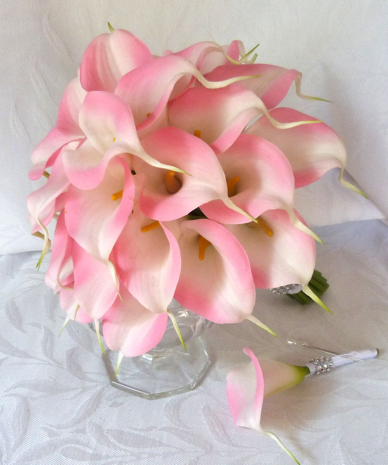 Pink Calla lily wedding bouquet   Etsy