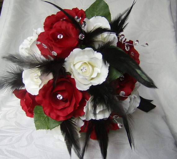 Wedding Bouquet Set Red And White Roses Black Feathers Gems Etsy