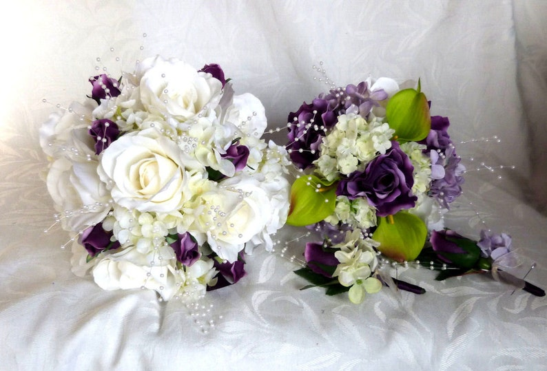 Rose Bridal Bouquet 4 Piece Set Wedding Bouquet White And Etsy