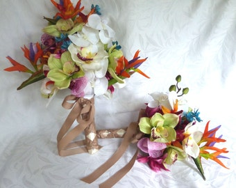 Tropical bridal bouquets matching boutonniere orchids bird of paradise