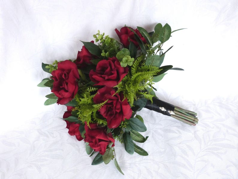 Garden bouquet dark red roses with eucalyptus accents garden fresh rustic bouquet boho bouquet