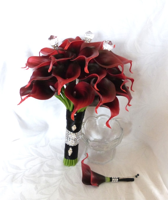 Real Touch Deep Red Calla Lily Bridal Bouquet And Boutonniere Etsy