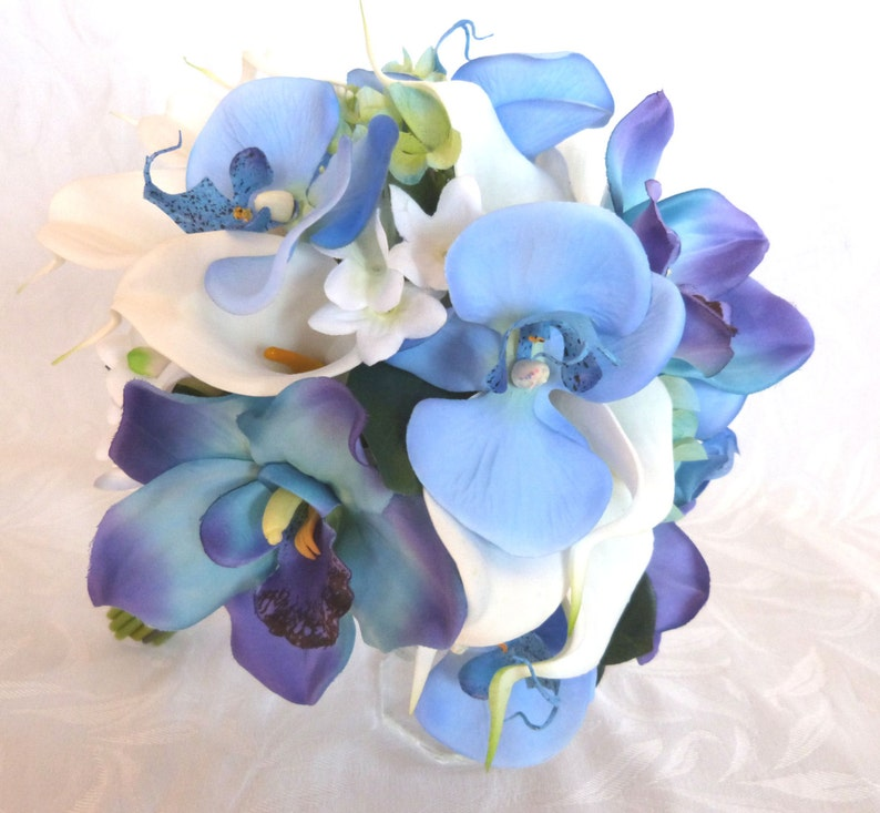 Blue orchid white calla lily bridal bouquet and boutonniere set blue orchid bouquet