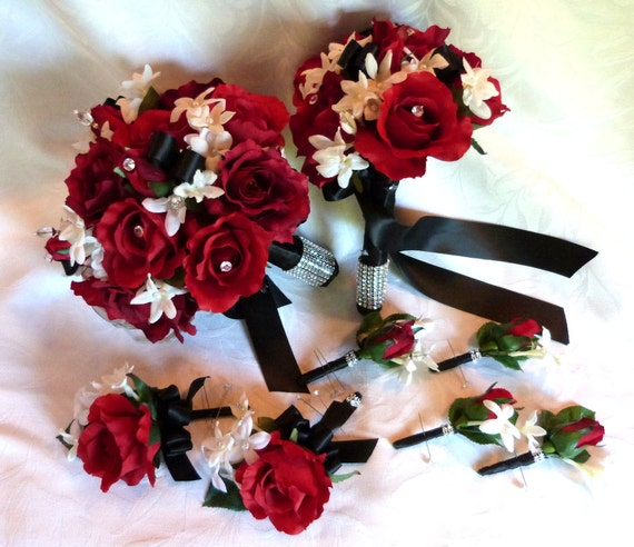Red Rose Bouquet Red White Black Wedding Bouquet And Etsy
