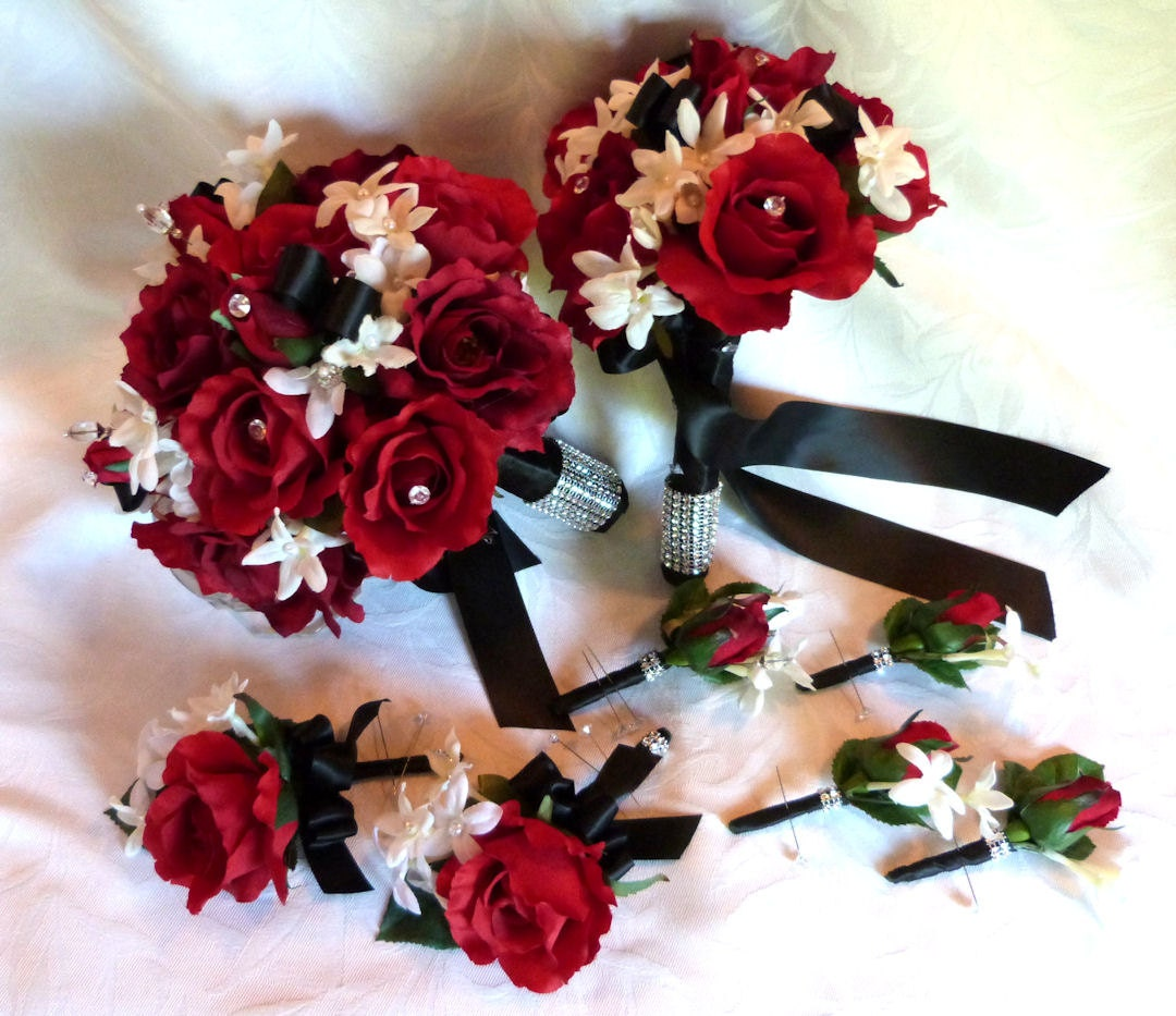 Black Wedding Flowers: Red Rose Bouquet Red White Black Wedding Bouquet And