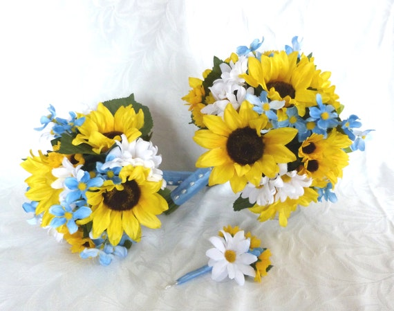 17 Piece Sunflower Wedding Bouquet In Yellow And Blue Country Etsy