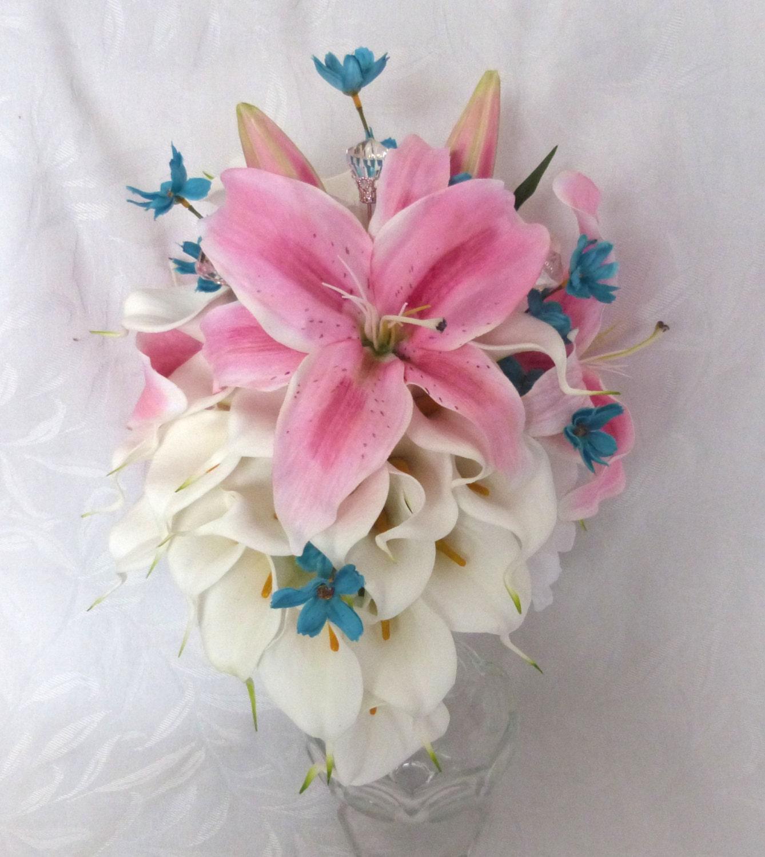 Star Gazer lily calla lily wedding bouquet calla lily pink   Etsy