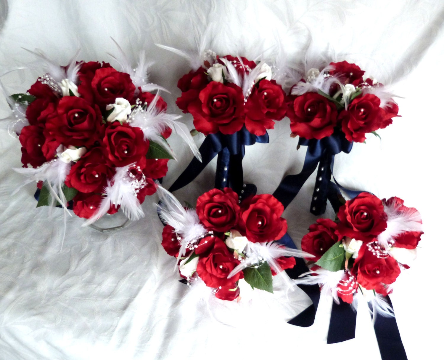 Red White And Blue Bridal Flowers White Feather Red And Creme Etsy