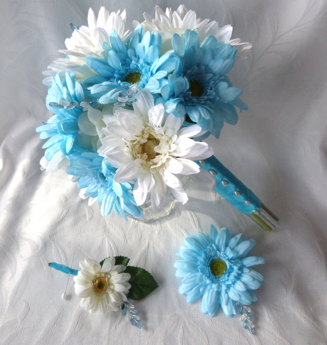 Bridal Bouquets Silk Flowers: Silk Flower Bridal Bouquet Boutonnieres Malibu And Creme