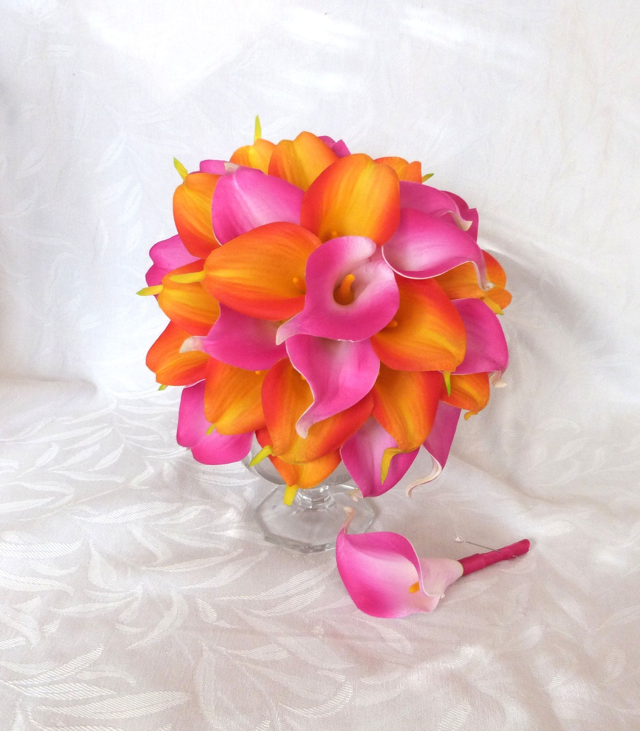 Hot Pink And Orange Real Touch Calla Lily Wedding Bouquet Set Etsy