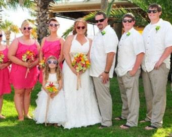 Tropical bridal bouquets matching boutonnieres destination wedding bouquet set green orchid bouquet