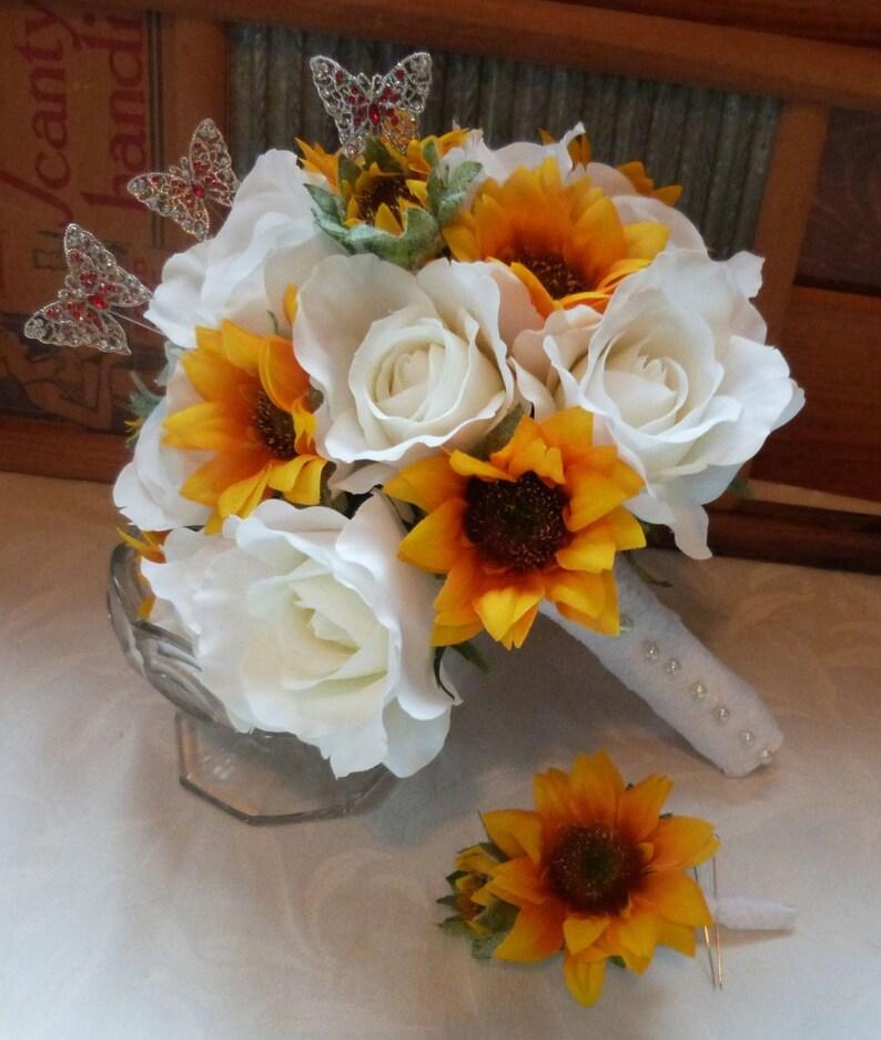 Sunflower Bridal Bouquet Sunflower Roses Wedding Bouquet Silk Etsy