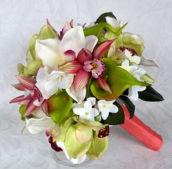 Green and white orchid bridal bouquet tropical destination etsy image 0 mightylinksfo