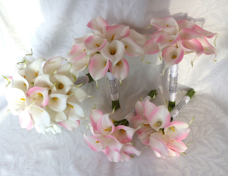 14 Piece set Pink and white mini real touch calla lily bridal bouquet set Wedding flower set