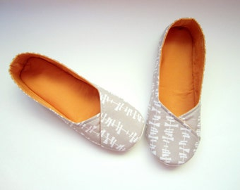 Women's Slippers - Grey and Yellow 'Lady Bird' House Slippers