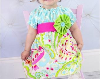 Perfect Peasant Dress: Girls Peasant Dress Pattern, Long Sleeve Peasant Dress Pattern