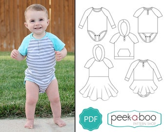 Duck Duck Goose PDF Sewing Pattern: Baby Bodysuit Pattern/Toddler Bodysuit Pattern
