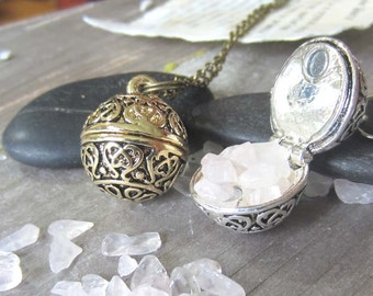 witchcraft locket rose quartz necklace occult witchy jewelry wiccan crystals secret compartment wish necklace pagan wicca jewelry