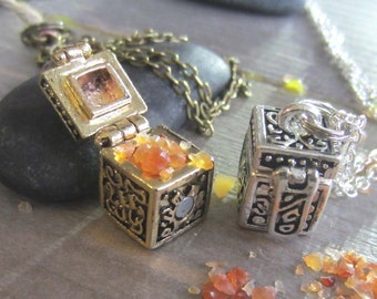 secret compartment necklace witchcraft jewelry wish locket carnelian witchy prayer box occult mystical  wiccan crystals pagan witchcraft