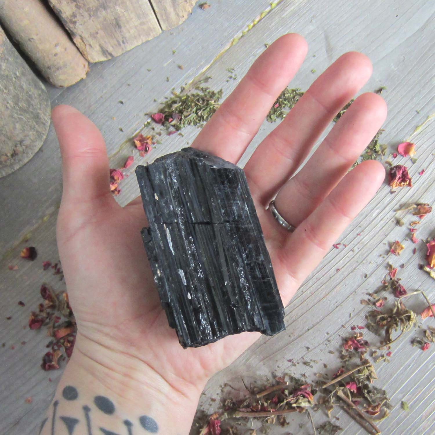 Large Rough Black tourmaline - meditation crystals witchcraft supplies  wicca pagan wiccan occult crystal set