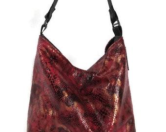 Bucket bag,faux snake purse, faux reptile skin, Bucket purse, shoulder purse