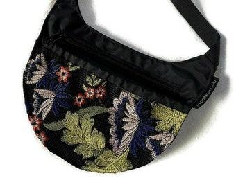 Iphone crossbody purse, Slim-line Crossbody, Black Crossbody Bag, Summer flowers shoulder bag, hiking bag, crossbody cell phone bag