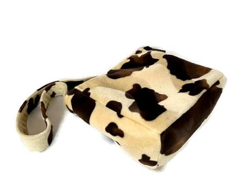Faux Fur Crossbody, Cowgirl print bag, Faux Fur Bag,