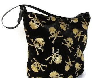ready to ship, Shoulder bag, crushed velvet with gold skulls and bones