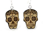 Sugar Skull - Day Of The Dead - Wood Earrings