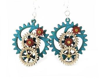 Kinetic Gear Earrings - Aqua color style #5003C
