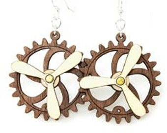Spinning Propeller Gear Earrings - Laser Cut from Reforested Wood #5006A