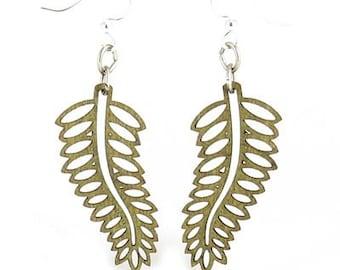 Open Fern Earrings - Cut Wood Earrings