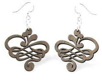 Calligraphy Design  -Laser Cut  Wood Earrings