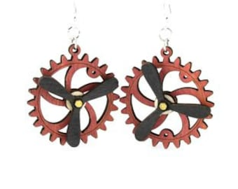 Spinning Propeller Gear Earrings - Laser Cut from Reforested Wood #5006D