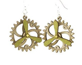 Spinning Propeller Gear Earrings - Laser Cut from Reforested Wood #5006C