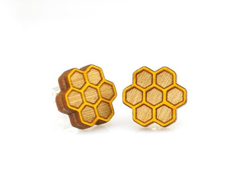 Honeycomb Studs Laser Cut Earrings from Reforested Wood image 0