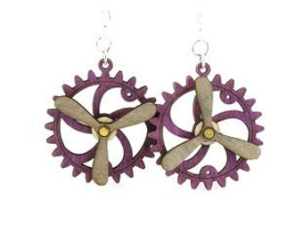 Spinning Propeller Gear Earrings - Laser Cut from Reforested Wood #5006E
