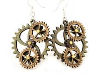 Kinetic Triple Moving Gear Earrings #5005F