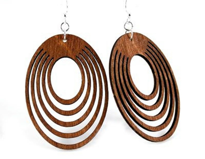 Ovals Offset  Wood Earrings from Reforested trees image 0