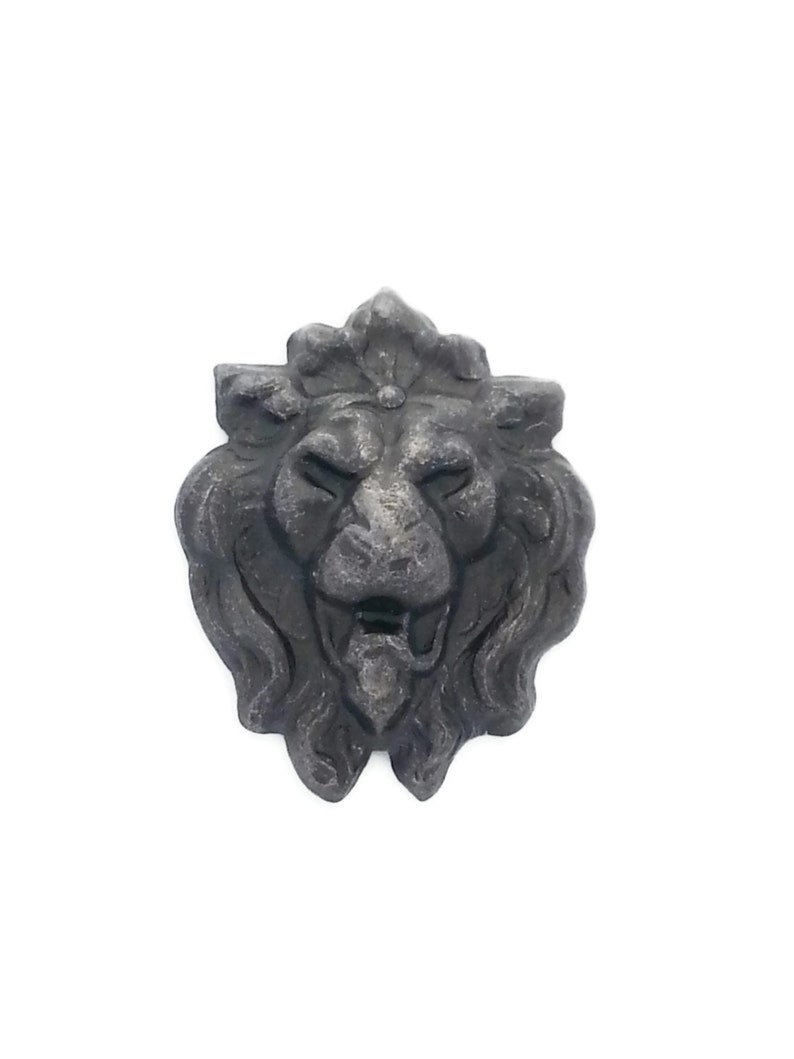 50OFF FREESHIP Black Brass Small Lion Head Face Qty 7 Stamping 34mm x 27mm Perfect for Steampunk Art Made in the USA Brass