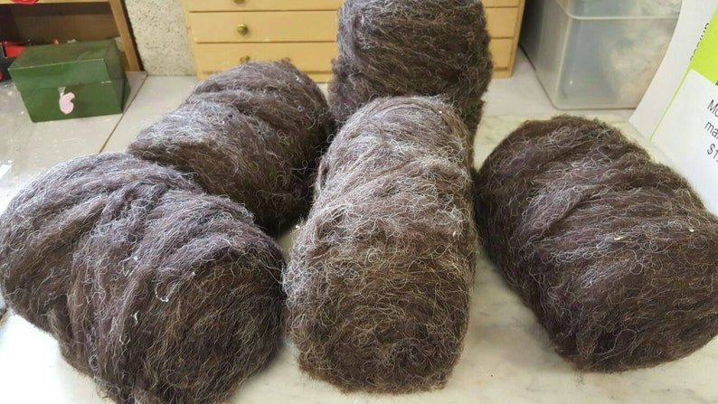 5 Wool Brown ROVING  6 0z  rolls Ready to Spin on Etsy