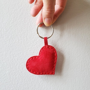 Heart keychain valentines Personalized pocket hug Small red leather gift