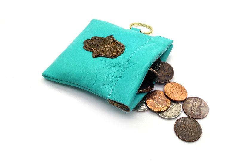 Hamsa Coin Purse with Key Chain Loop.