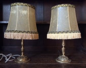 Vintage French skin shade cast brass ornate fringe desk bedside standing lamp SOLD INDIVIDUALLY circa 1930-40 39 s English Shop