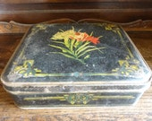 Image of Vintage French Flowers Decorated Tin Canister circa 1940s / English Shop
