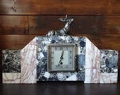 Vintage French Large Heavy Marble Stone Mantlepiece Clock Timepiece Case circa 1950-60 39 s EVE of Europe