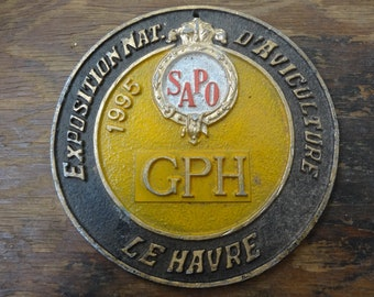 Vintage French agricultural farming beef cattle cow livestock metal prize trophy plaque agriculture prize Concours circa 1998  English Shop