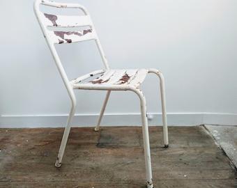 vintage francais metal rusty blanc bistro cafe chaise siege cuisine cote table fleur pot stand affichage circa 1950 60 english shop